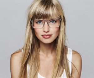 Portrait of stunning blond student, studio